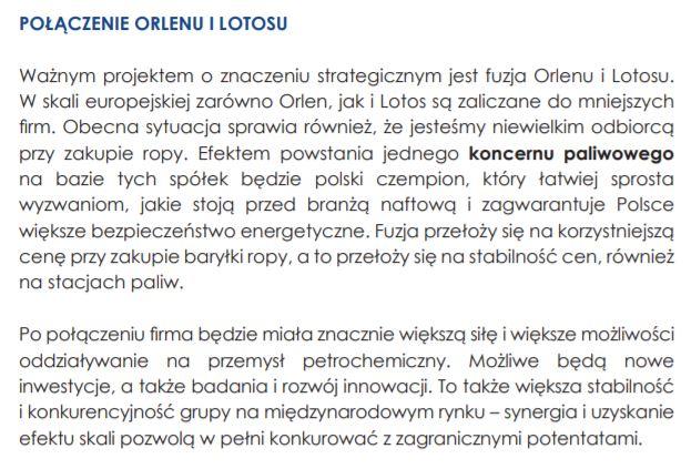 Orlen i Lotos w programie PiS