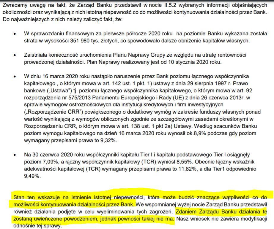 Opinia audytora do raportu Getin Noble Banku